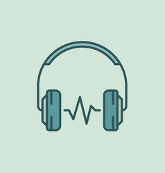 Over-ear headphones with sound wave icon vector
