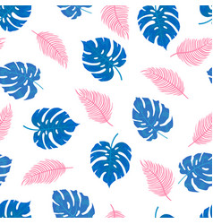 pattern tropical leaves in blue and pink vector image