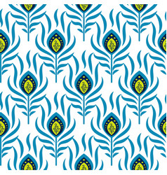 peacock blue and green seamless pattern vector image