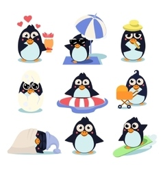 Penguin Set with Penguins in vector
