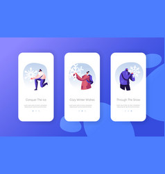 people enjoying snowfall mobile app page onboard vector image
