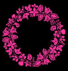 Pink wreath decorative frame on black background vector
