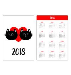 pocket calendar 2018 year week starts sunday two vector image