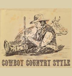 postcard cowboy is sleeping vector image