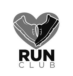 private run club emblem with sneakers in heart vector image