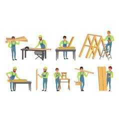 professional carpenters characters set men in vector image