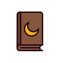 Ramadan koran with moon line and fill style icon vector