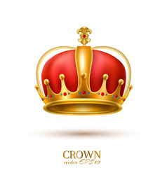 realistic 3d golden crown vector image