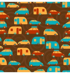 Retro seamless travel pattern cars vector