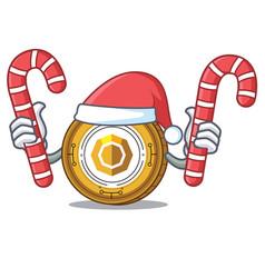 Santa with candy komodo coin mascot cartoon vector