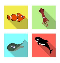 sea and animal logo vector image