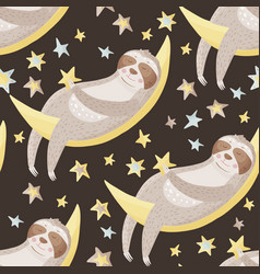 seamless pattern with sloths in flat style vector image