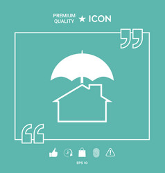 Security and protection icon home under umbrella vector