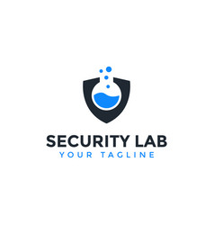 Security shield and lab logo design template vector
