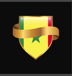 Senegal flag golden badge design vector
