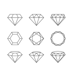 set diamonds isolated on a white background vector image