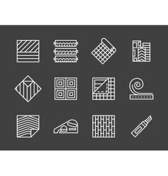 Set of linoleum white line icons vector image vector image
