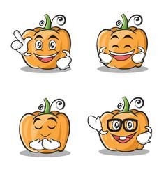 Set of pumpkin character cartoon style vector