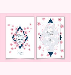 set template cherry blossom wedding invitation vector image