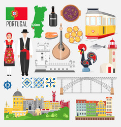 Set with portuguese symbols and landmarks vector