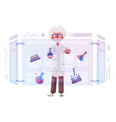 Smart scientist character cartoon vector