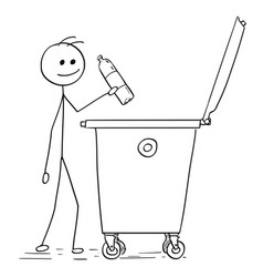 Smiling man throwing plastic bottle in to waste vector