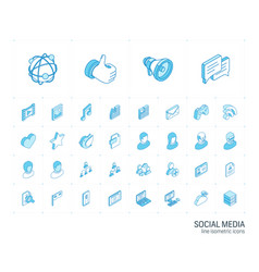 social media and network isometric line icons 3d vector image
