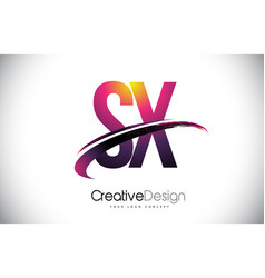 Sx s x purple letter logo with swoosh design vector