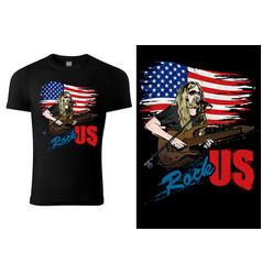 t-shirt design with rock guitarist vector image