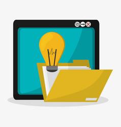 Tablet file folder and lightbulb idea related vector