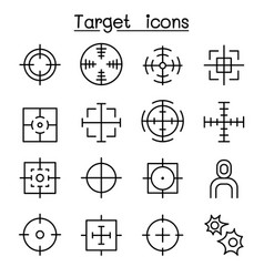 Target icon set in thin line style vector