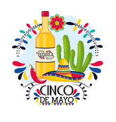 tequila with cactus plant to mexican event vector image