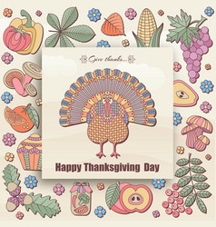 Thanksgiving day greeting card in pastel color vector