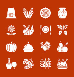 Thanksgiving day white silhouette icon set vector