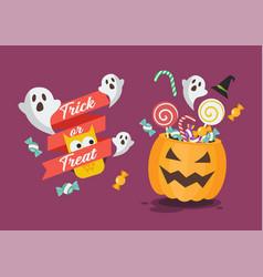 Trick or treat poster with halloween pumpkin vector