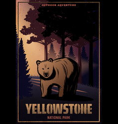 Vintage colored yellowstone national park poster vector
