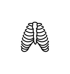 web line icon ribs black on white background vector image