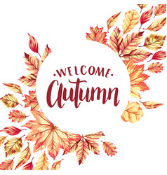 Welcome autumn frame vector