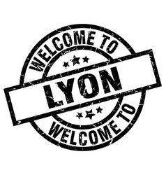 Welcome to lyon black stamp vector