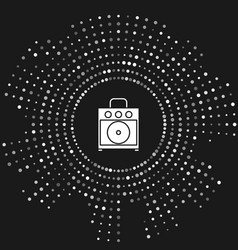 White guitar amplifier icon isolated on grey vector