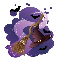 Witch broom and hat vector