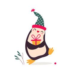 xmas penguin cartoon character with present box vector image