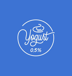 yogurt lettering logo round linear yogurt vector image