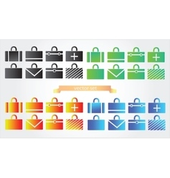 Case icons variants of briefcase vector image