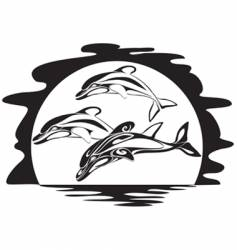 dolphins a silhouette vector image