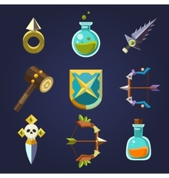 Game Resources Icons Flat Set vector image