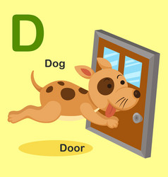 Isolated animal alphabet letter d-dog door vector