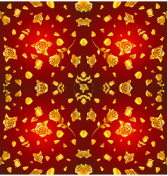 pattern gold rose and petal float on red vector image