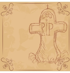 RIP headstone banner for halloween vector image