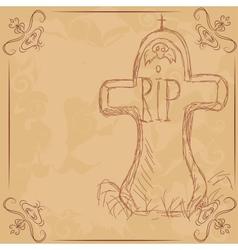 Rip headstone banner for halloween vector